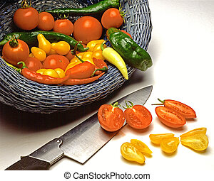 Culinary Harvest - A small but succulent crop of peppers and...