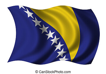 Flag of Bosnia Herzegovina waving in the wind