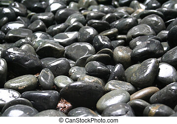 Zen pebbles - Smooth glossy grey pebbles asian zen garden