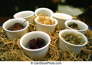 Chinese herbs - Chinese cooking herbs and spices in a...