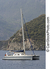 A yachet at anchor - A yacht at anchor