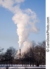 Ecology - Smoke from factory pipes on a background of the...