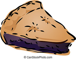 Pie sketch - Blueberry desert Pie, hand drawn retro...