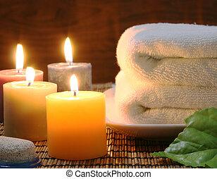 velas, toalla