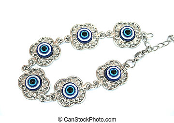 Bracelet - Metallic bracelet talisman with blue eyes for...