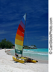 catamaran - a catamaran on the beach in Barbados