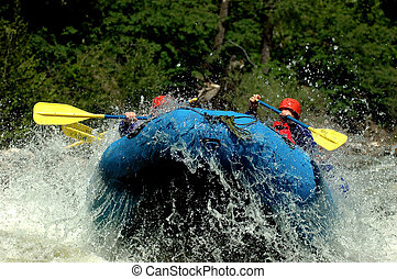 rafting lift off - blue whitewater raft lifting off river...