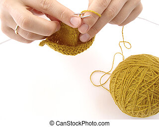 knitting - hands with knitting