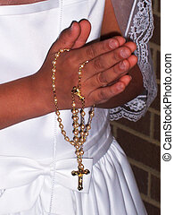 First Communion - Praying hands with pearl rosary
