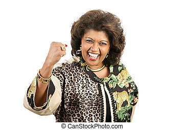 Woman Power - A pretty ethnic woman waving her fist in a...