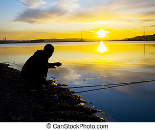 fisher fasten the bait