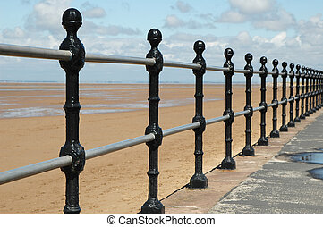 beach railings perspective