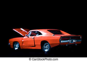 Muscle car - Old retro charger muscle car on black with hood...