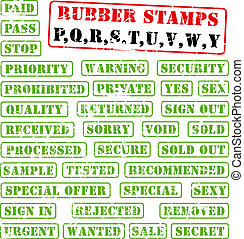 Rubber stamps collection PQÉWY