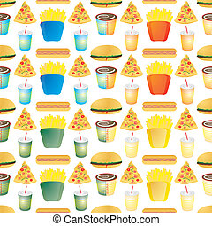 fast food tile multi - Illustrated fast food background that...