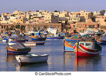 Marsaxlokk Village 2 - Colorful, traditional fishing boats...