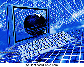 Global technology - Conceptual image depicting global...