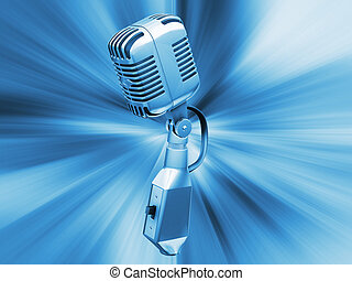 Retro microphone on abstract background