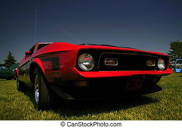 Agressive Red Mustang - Agressive wide angle shot of red old...