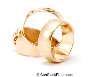 Golden rings - series object on white - Golden rings