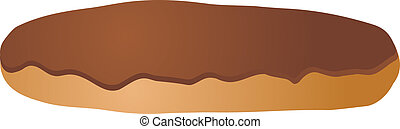 Chocolate icing covered eclair vector isometric illustration