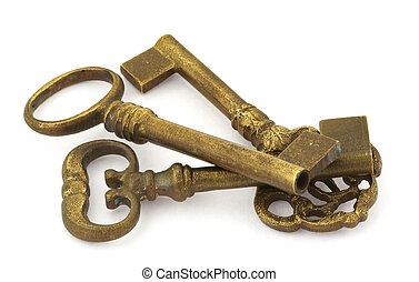 old keys - close-up of three ornamented old keys isolated on...