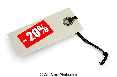 Sale tag 2 - close-up of a Sale tag against white, a small...