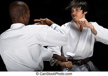 Karate fight - African American versus Caucasian karate...