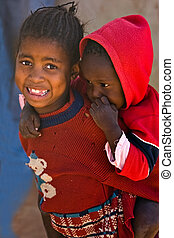 African children - Deprived African children, village near...