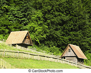 country house - Old wooden country house in central Europe -...