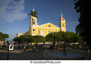 church granada nicaragua view from central park colonial...