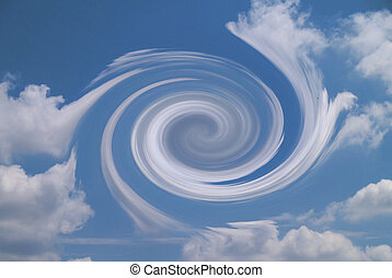 Vortex in cloudy sky - Hurricane shaped vortex in cloudy sky...