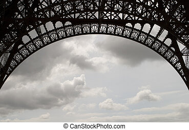 Eiffel Tower Ironwork - A detailed view of the ironwork on...