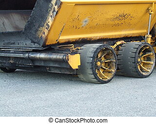Asphalt truck - ths wheels of an Asphalt truck