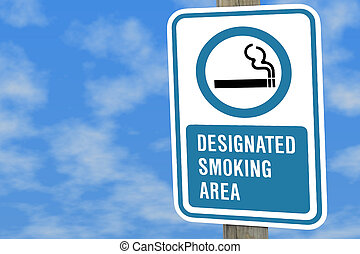 puffy day - Designated smoking sign on a post against a blue...