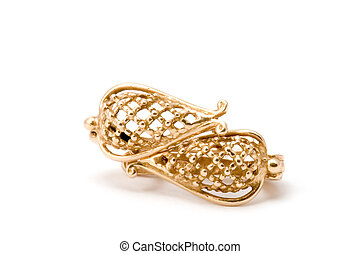 Golden ear-ring - series object on white - Golden ear-ring