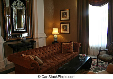 living room - Living room with sofa, in Colonial British...