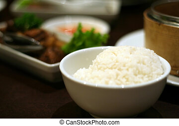 Traditional chinese cuisine various dishes and a bowl of...