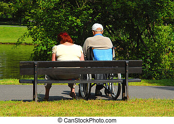 Relaxing in the park, leisure, nature, disability, metaphors