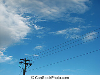 Powerlines and blue sky