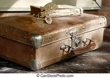 Beloved family grunge trash-suitcase and shabby book