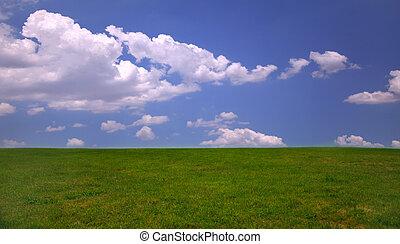 藍色, 天空, 草, 綠色