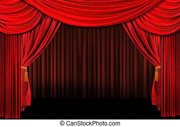 赤, 上に, ステージ, 劇場, ドレープ