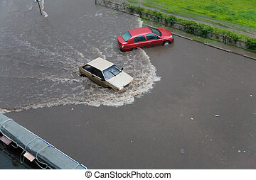 flood - the car in water during of flood