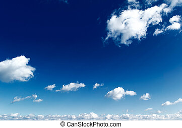 The blue sky. - The white clouds on blue sky.
