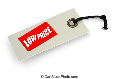 Sale tag 7 - close-up of a Low Price tag against white, a...