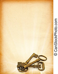 shining keys against peper - sheet of old paper with retro...