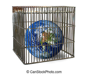 world confined in a cage isolated on white