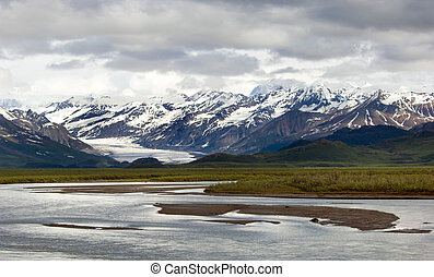 Matanuska Glacier and Matanuska river along Alaskan highway...