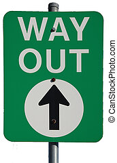 Way Out - Australian Way Out Exit road sign